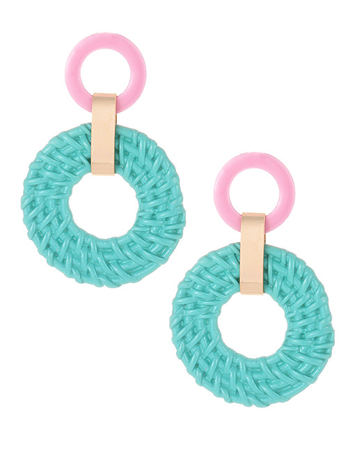 Fashion Green Round Shape Decorated Earrings