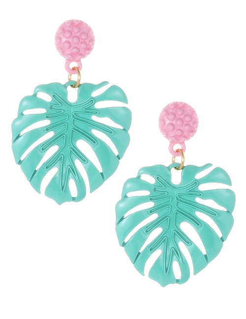 Fashion Light Green Leaf Shape Decorated Earrings