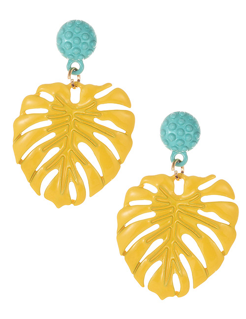 Fashion Yellow Leaf Shape Decorated Earrings