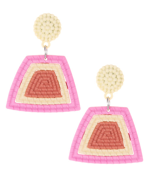 Fashion Pink Color Matching Decorated Earrings