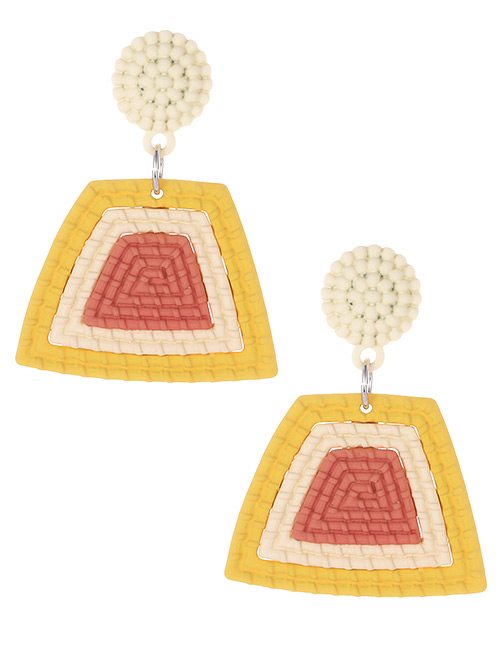 Fashion Yellow Color Matching Decorated Earrings