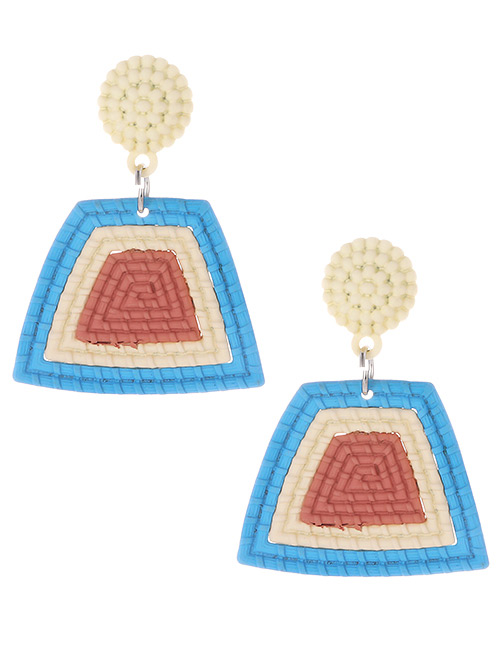 Fashion Blue Color Matching Decorated Earrings