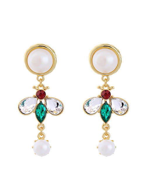 Fashion Green Diamond&pearl Decorated Earrings