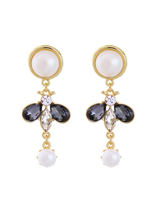 Fashion Black Diamond&pearl Decorated Earrings
