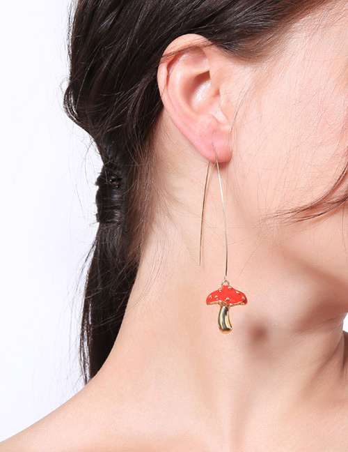 Fashion Red Mushroom Shape Decorated Earrings
