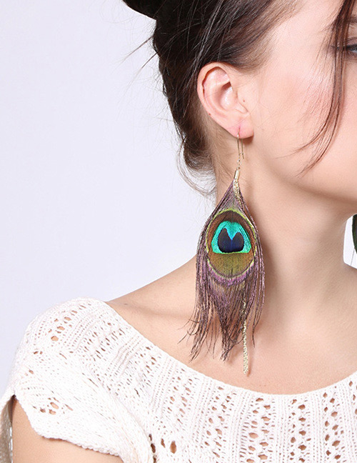 Fashion Green+gold Color Feather Shape Decorated Earrings