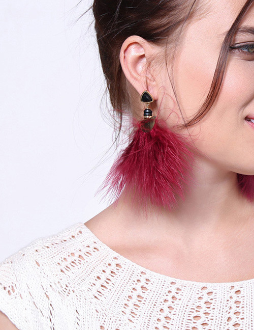 Fashion Claret Red Feather Shape Decorated Earrings