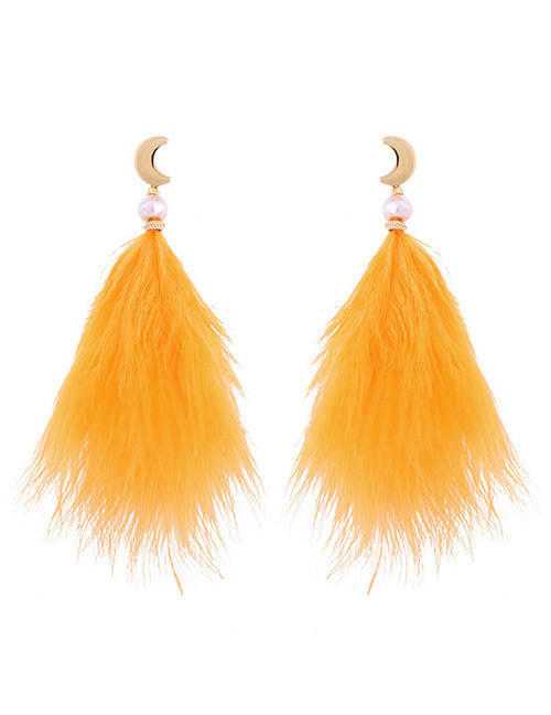 Fashion Yellow Feather Shape Decorated Earrings