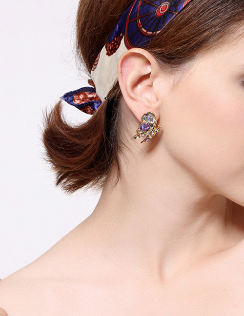 Fashion Multi-color Butterfly Shape Decorated Earrings