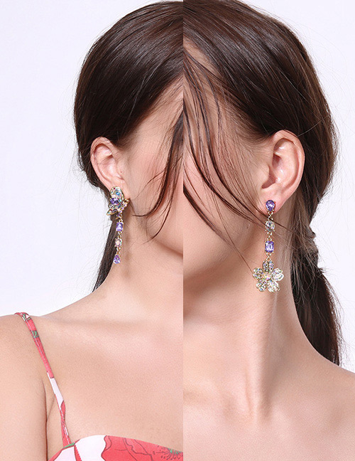 Fashion Multi-color Flower&butterfly Shape Decorated Earrings