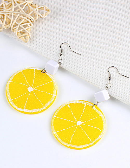Fashion Yellow Lemon Shape Decorated Earrings