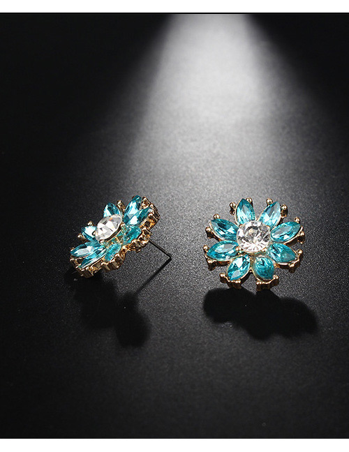 Fashion Gold Color+blue Flower Shape Decorated Earrings