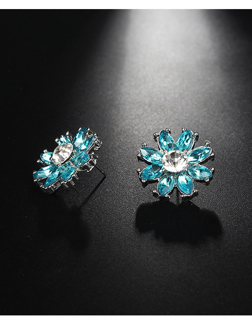 Fashion Blue+silver Color Flower Shape Decorated Earrings