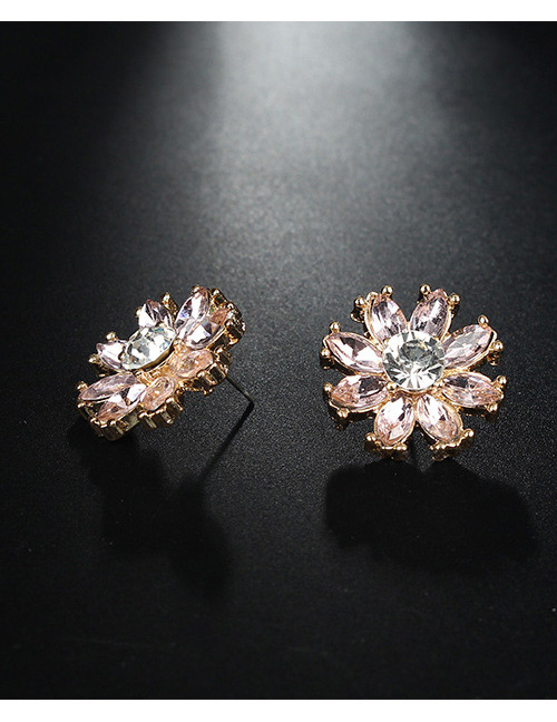 Fashion Gold Color+pink Flower Shape Decorated Earrings