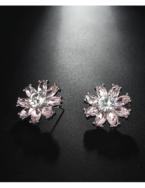 Fashion Silver Color+pink Flower Shape Decorated Earrings