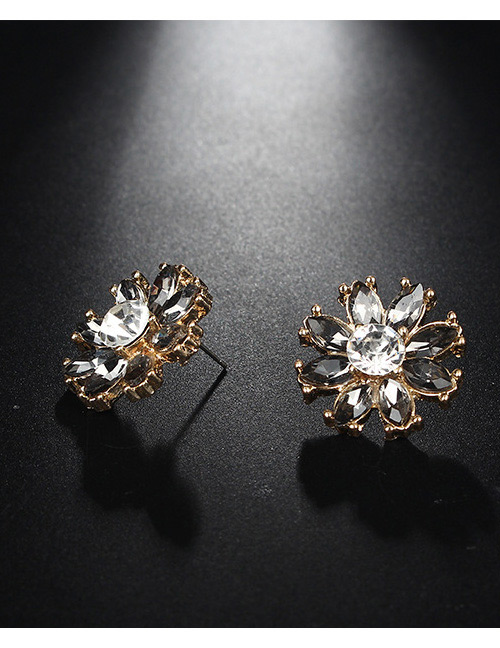 Fashion Gold Color+black Flower Shape Decorated Earrings