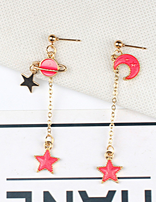 Fashion Red+black Moon&star Shape Decorated Earrings