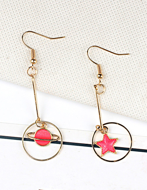 Fashion Gold Color+red Star Shape Decorated Earrings
