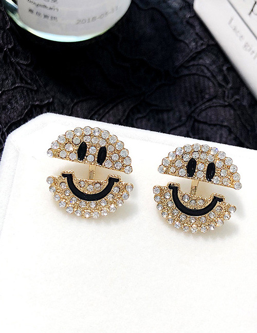 Fashion Gold Color+black Smile Shape Decorated Earrings