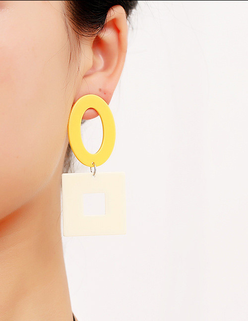 Fashion White+yellow Square Shape Decorated Earrings