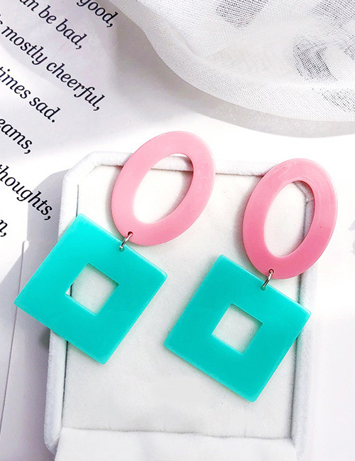 Fashion Green+pink Square Shape Decorated Earrings