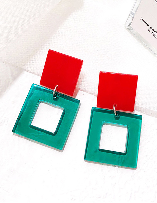 Fashion Blue+red Square Shape Decorated Earrings