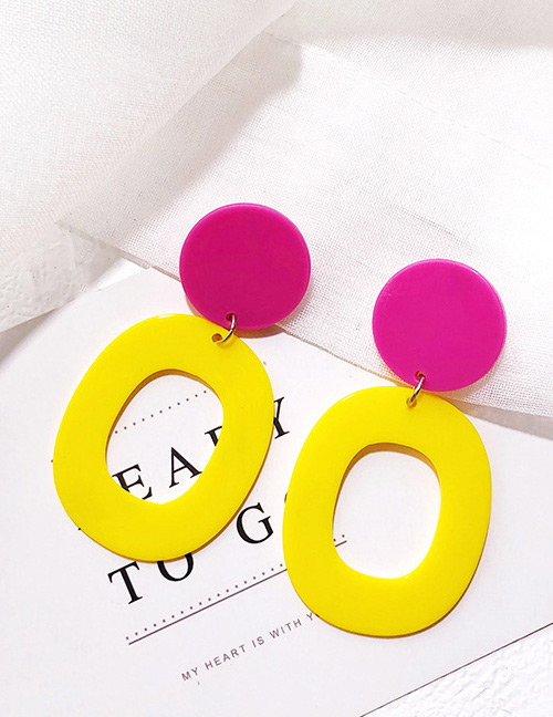 Fashion Plum Red+yellow Square Shape Decorated Earrings