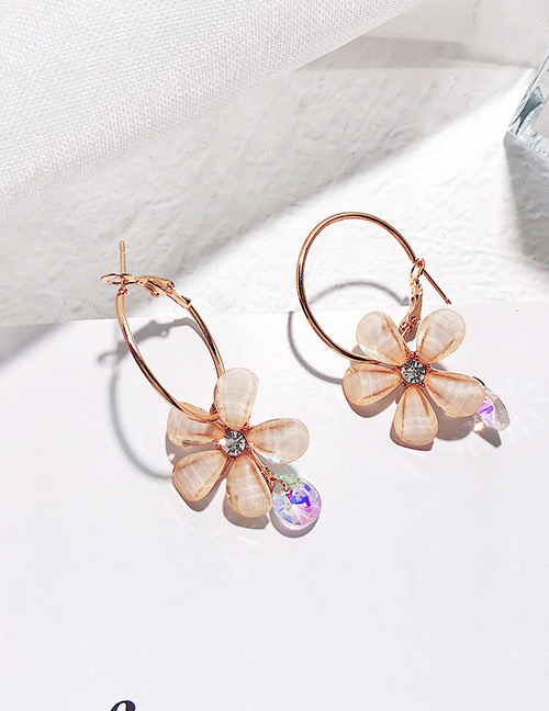 Fashion Gold Color+purple Flower Shape Decorated Earrings