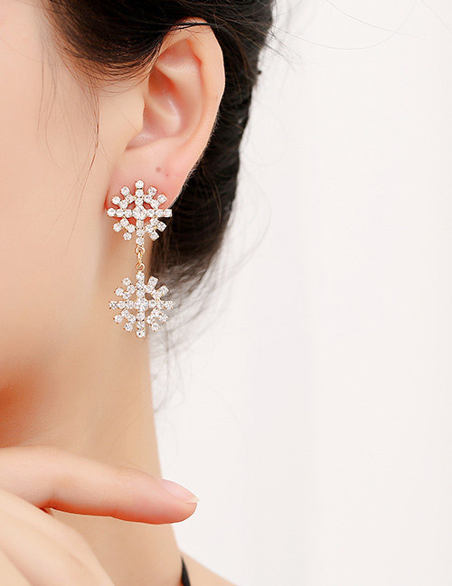 Fashion Gold Color Diamond Decorated Hollow Out Earrings