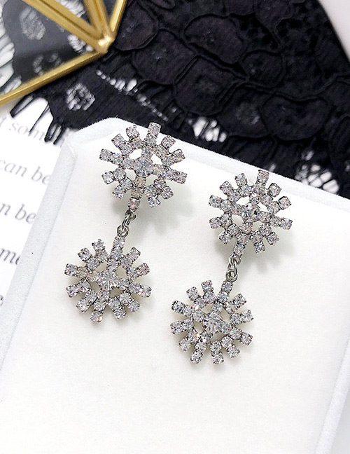 Fashion Silver Color Diamond Decorated Hollow Out Earrings