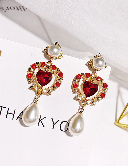 Fashion Red+gold Color Heart Shape Decorated Earrings