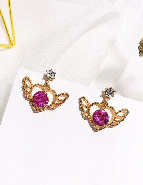 Fashion Purple+gold Color Heart Shape Decorated Earrings