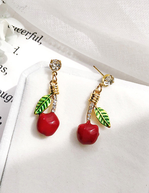 Fashion Red+green Cherry Shape Decorated Earrings