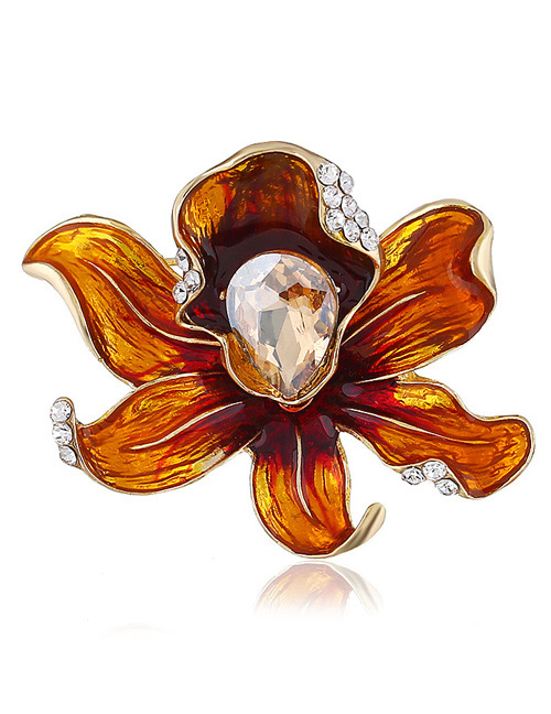 Fashion Yellow Flower Shape Decorated Brooch
