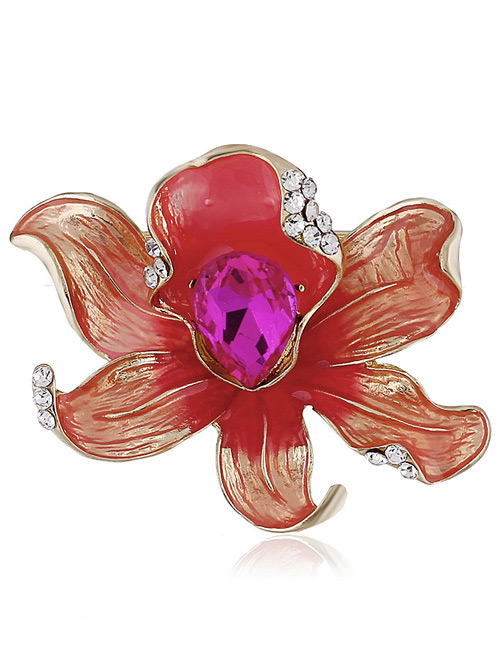 Fashion Red Flower Shape Decorated Brooch
