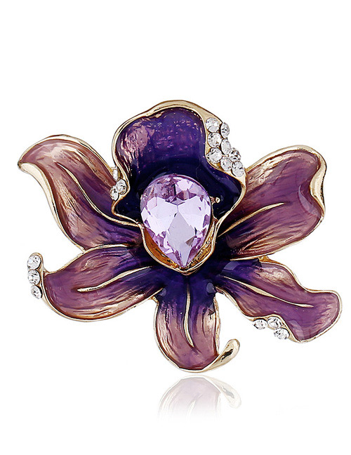 Fashion Purple Flower Shape Decorated Brooch