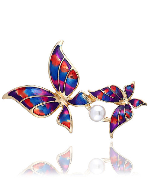 Fashion Red Butterfly Shape Decorated Brooch