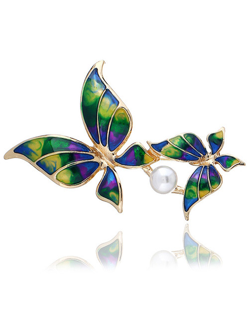 Fashion Green Butterfly Shape Decorated Brooch