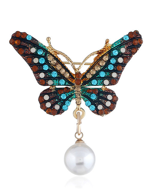 Fashion Blue Butterfly Shape Decorated Brooch