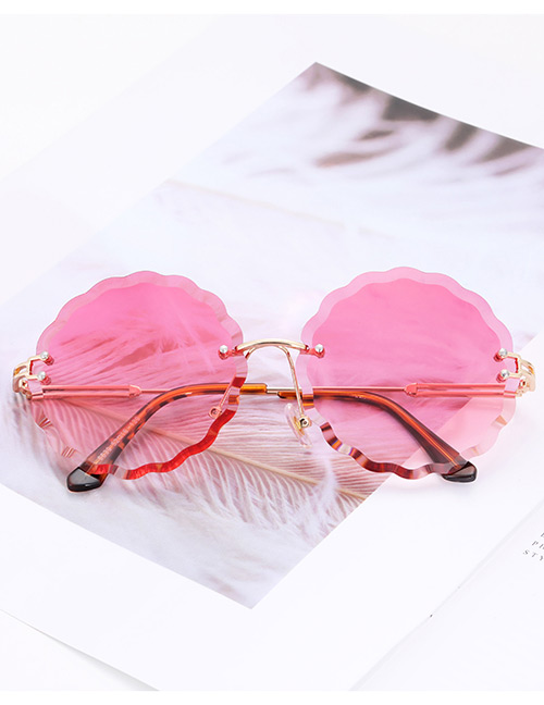 Fashion Pink Flower Shape Decorated Sunglasses