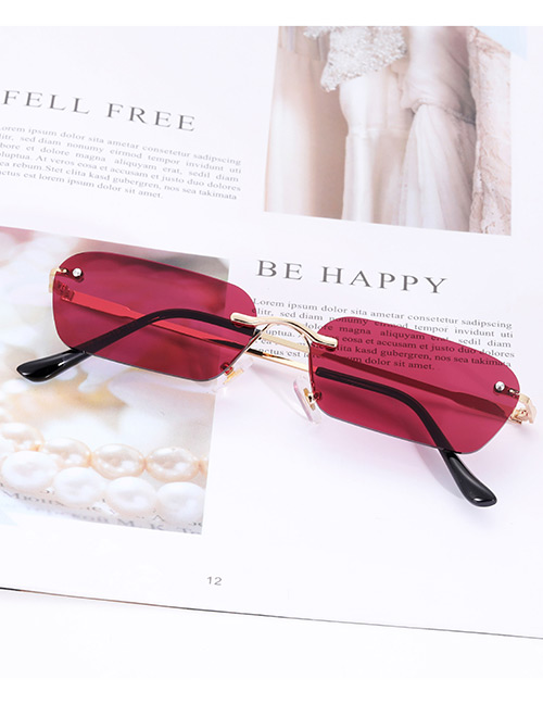 Fashion Claret Red Pure Color Decorated Sunglasses