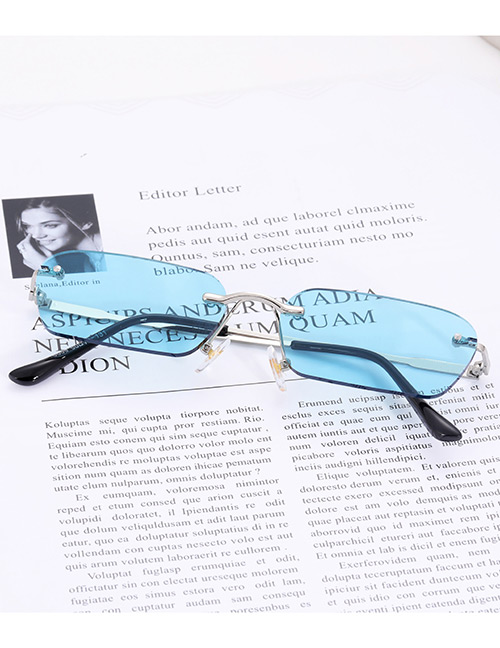 Fashion Blue Pure Color Decorated Sunglasses