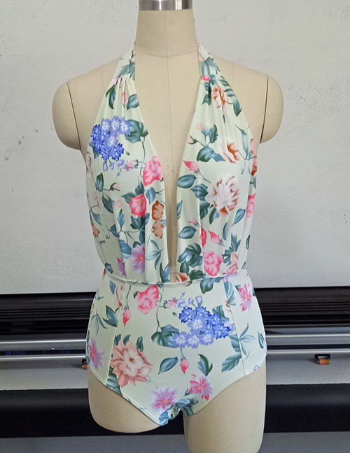 Fashion Multi-color Flower Pattern Decorated Swimwear