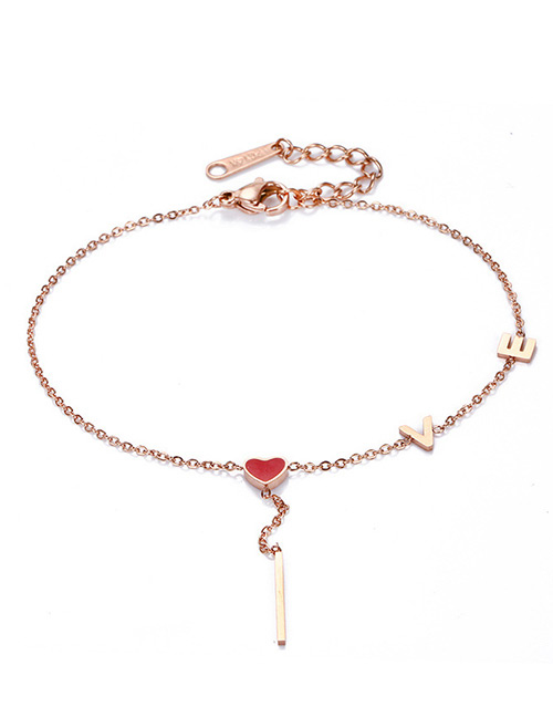 Fashion Rose Gold Letter Love Pendant Decorated Bracelet