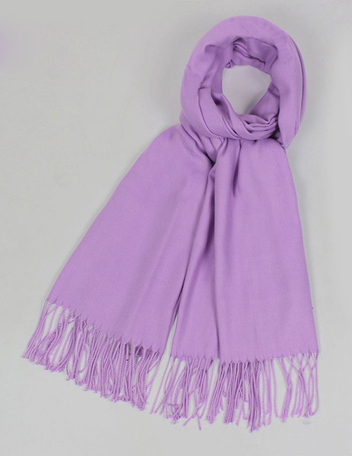 Fashion Purple Pure Color Decorated Warm Scarf