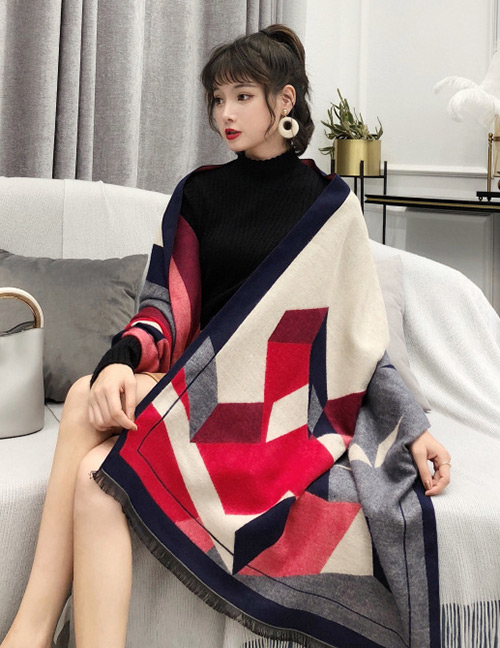 Fashion Red Geometric Shape Pattern Design Dual-use Scarf
