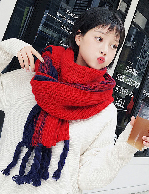 Fashion Red Tassel Decorated Knitted Thicken Scarf