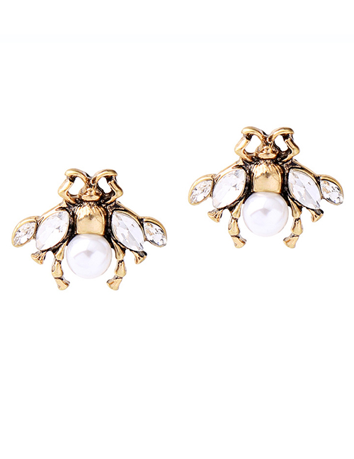 Vintage Gold Color Pears Decorated Bee Shape Long Earrings