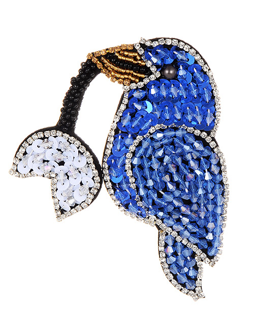 Fashion Sapphire Blue Full Diamond Design Bird Shape Patch