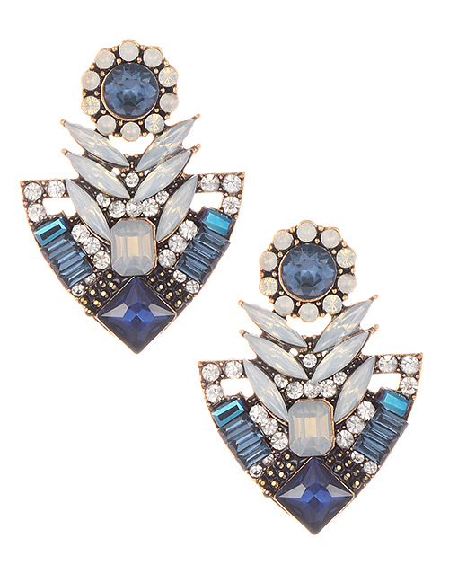 Elegant Blue Geometric Shape Diamond Design Earrings
